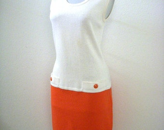 Vintage 80s 90s Orange and White Knit Dress by St. John by Marie Gray - Sleeveless Two Tone Tangerine Sheath Dress - Size 6 Small to Medium