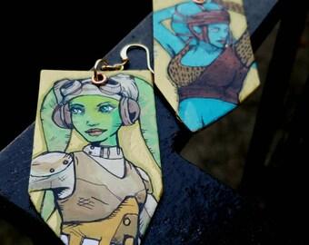 Aayla Secura and Hera Syndulla Star Wars Twi'lek hand-painted earrings