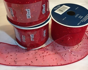 Sheer red with glitter ribbon 2.5 inches wide, each roll is 10 yards long