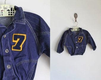 vintage toddler's denim jacket - NUMBER 7 letterman jean jacket / 18M