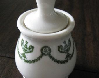 Vintage Mustard Jar / Restaurant China / Green / Syracuse China