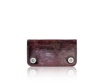 iPhone 6, iPhone 7 RETROMODERN aged leather wallet - - BURGUNDY