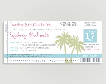 Honeymoon Bridal Shower Invitation - Tropical Hawaiian Bridal Shower - Travel Theme  - Shower Printable File or Print Package -  #00100-PI10