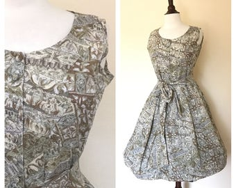Vintage olive floral architecture day dress size S to M