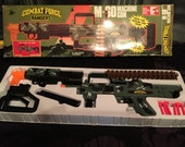 Vintage Toy M80 Machine Gun Combat Force Rangers 1992 Mint Never Played With, Army Rifle Rubber Plunger Shooter