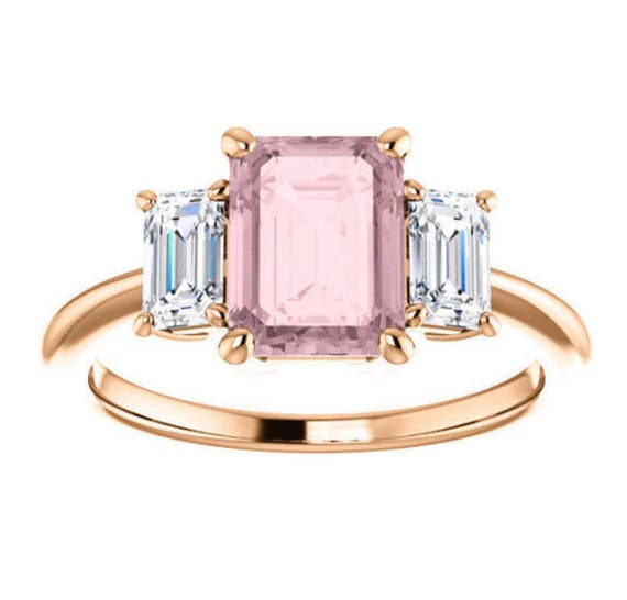 Emerald Cut Morganite Three Stone Ring