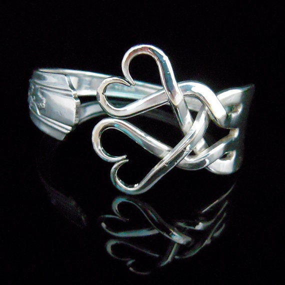 Silver Fork Bracelet in Original Weaving Hearts Design