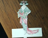 Antique die cut hand colored unused 1910's place card Edwardian lady Edwardian fashion paper ephemera collage art