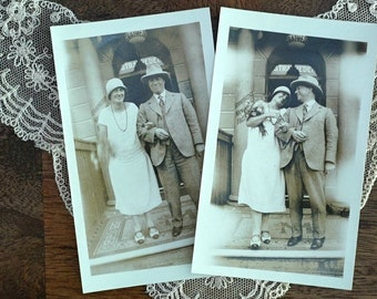 1920s Wedding Bells Two Vintage Photos Vintage Wedding Dress Stratheden Hotel UK Great Britain Vintage Weddings Cloche Stratford on Avon