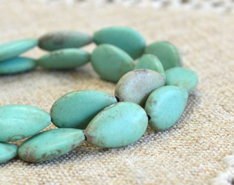 22pcs Green Magnesite 16x10mm Teardrop Natural Gemstone Beads 15 Inches