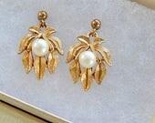 Avon Earrings, Faux Pearl Earrings, Vintage, Small Dangle, Gift for Her