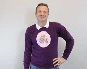 Vintage Purple Collared Sweatshirt Bear Shirt Love Blooms Everywhere
