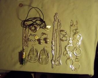 Lot Vintage Silver Tone Metal Necklaces Bracelet Pin Earrings 1 YGT Whistle Pendant 8979