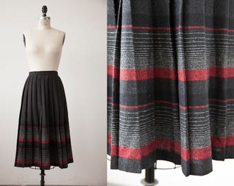 Vintage Charcoal Gray Wool Midi Length Red and Black Striped Pleated Skirt Classic S