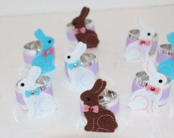 Bunny Multi Color Napkin Rings Set of 8