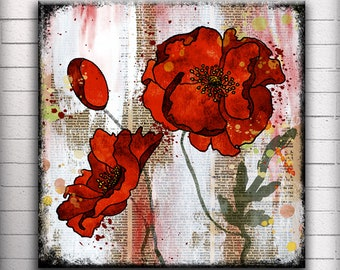Red Poppy - One 5, 6, 7 or 8 inch Square Handmade Glass and Wood Wall Blox - Dictionary page book art - WilD WorDz - Poppy Talk 1 of 4