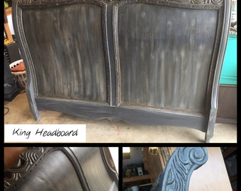 Schnadig Distressed King Headboard ~ ASCP Graphite French Linen  - San Diego Local Pickup