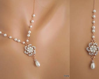Bridal pearl and crystal necklace Statement Bridal necklace Wedding Rhinestone necklace rose gold backdrop swarovski crystal necklace AMELIA