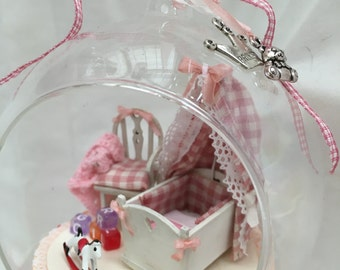 Handmade Glass bauble with baby girl miniatures