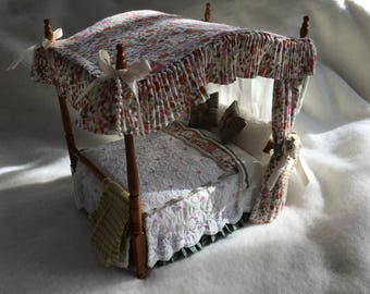 Dolls House Luxury Dressed Brass Wire 1/12th Four Poster Bed - Annabel - NEW SPRING 2017