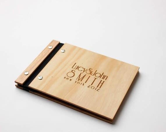 Wedding Guest Book. Photo Album. Wood Anniversary Gift. Wood Wedding Book : Art Deco Style