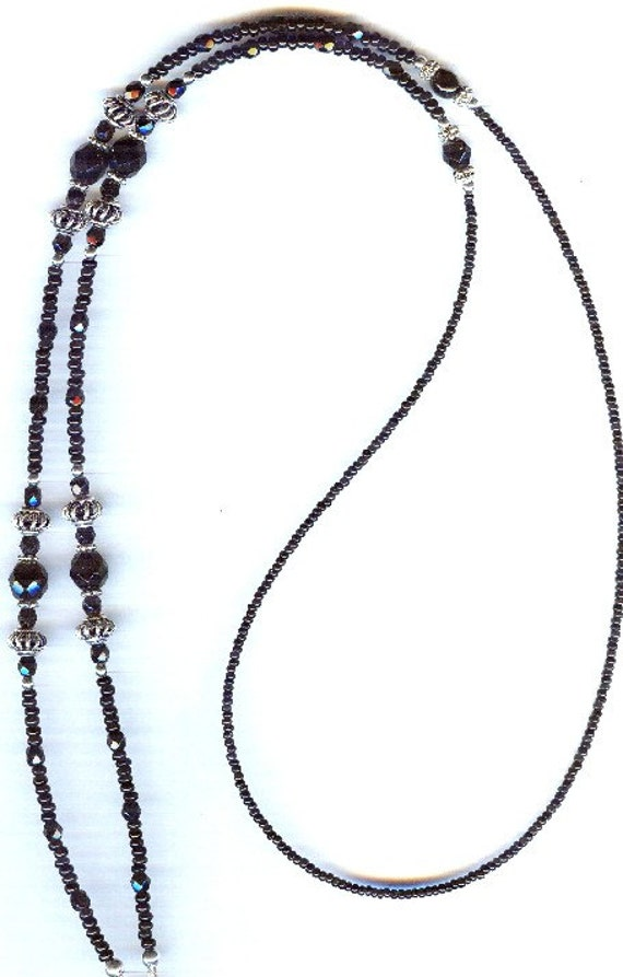 """READY TO SHIP Bali Silver & Austrian Faceted Glass Eyeglass Chain 30"""""""