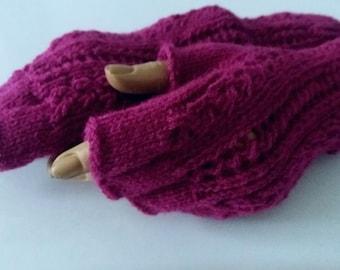 Maroon Half Finger-Knitting Fingerless Gloves