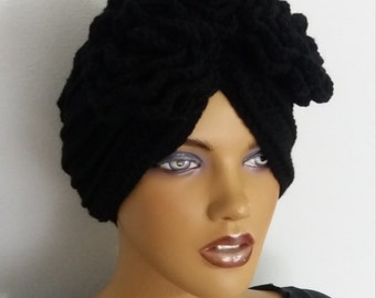 Black slouch hat-berets and with rose-turban hat