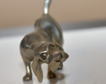 Low Country Pewter Charleston, Bloodhound Hunting Dog Figurine,  Solid Pewter Handcrafted Hound Dog