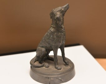 Cast Metal Spelter Dog Collie  Mix Figurine, From Trophy bookends salvage