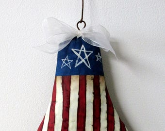 Metal Liberty Bell, Red, White and Blue, Patriotic Bell, Rusty Bell, Americana Bell, Hand Painted,Tole Painted,White Stars,Barbsheartstrokes
