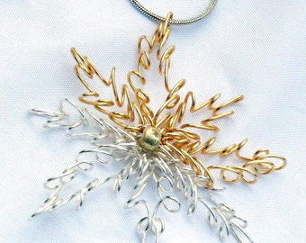 Wire Wrapped Silver and Gold Snowflake Necklace - Wire Starburst Pendant - Winter Wedding Jewelry - Unique Gifts for Her