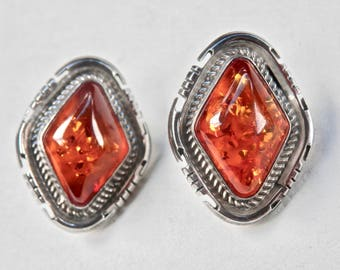 Amber Earrings Vintage Sterling Silver Vintage Amber Jewelry Geometric Earrings Baltic Amber Golden Orange Natural Amber Industrial Silver