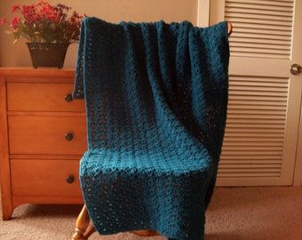 "CLEARANCE! Ocean Blue Hand Crochet Afghan, Blanket Throw Blanket, 51""x39"" Solid color, Adult couch sofa lap More colors @ CozyHomeCrochet"