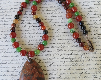 Red Green And Brown Agate Beaded Necklace With Red Leopard Skin Jasper Pendant