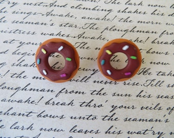 Chocolate Frosted Donut Plastic Post Earrings