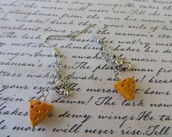 Mouse And Cheese Charm And Clay Dangling Earrings