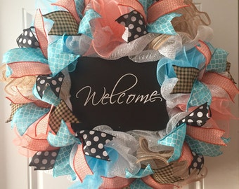Spring Deco Mesh Wreath for Front Door, New Home Hostess Gift, Chalkboard Welcome Sign, Coral Turquoise Mesh Wreath, Wedding Gift Ideas
