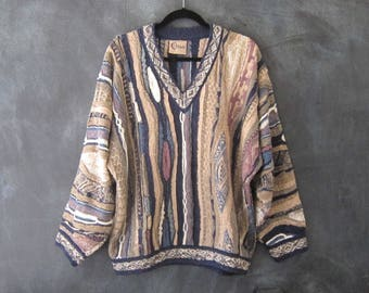 90s 80s Coogi Oversized V Neck Sweater Pastel Cosby Sweater Hip Hop Urban Hipster Slouchy Pullover