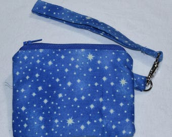 Glow-in-the-Dark blue stars zip pouch / coin purse / wallet