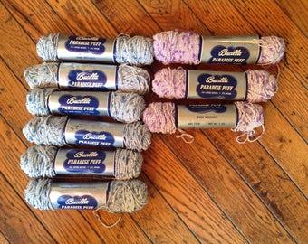 Vintage Bucilla Paradise Puff Yarn Lot 9 Skeins