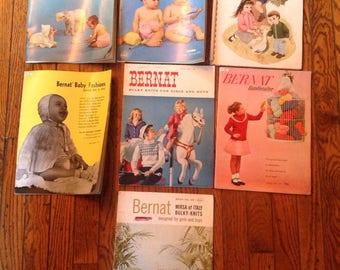 Vintage 1950's 1960's Bernat Handicrafter Baby Kids Knitting Magazine Lot Instructions Patterns