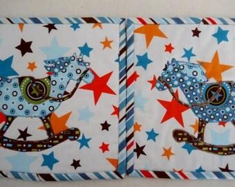 Toy Rocking Horse Snack Mat Small Placemat Blue White Brown Orange Mini Mat Horse Mug Art Quilt