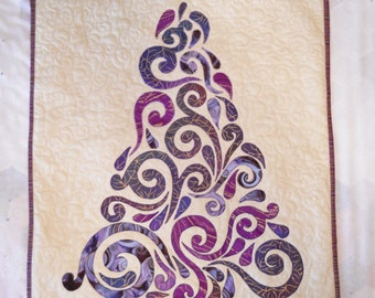 Quilted Tree Wall Hanging Purple Tree Fiber Art Applique Christmas Tree for Small Spaces Tree  for Apartment Dark Purple Fabric Gold Embosss