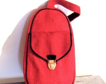 vintage tweed purse - 1940s-50s Celebrity New York red tweed handbag tote