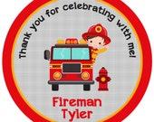firetruck birthday stickers - fireman firefighter birthday sticker fire truck birthday