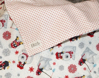 Keeping Warm with the Penguins! Flannel Baby Blanket, with Skiing Penguins and Polar Bears, Adorable Baby Blanket, Perfect for a Toddler