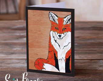 The Four Foxes Foxy and Crafty Art Pack Animals Wild Art cards pack of FOUR folk art animal art greeting card canadian wildlife