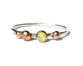 Opal Solid Rose Gold, silver Ring - Opal Ring- Rose Gold and silver Ring- Rustic Ring- Stackable Ring- Opal-Rose Gold Ring- Thin Silver Ring
