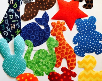13 Iron On Baby Boy Fabric Applique Assortment...Whale/Giraffe/Dinosaur/Duck/Tie...Great For Baby Shower Onesie Making Party/Quilts/Onesies